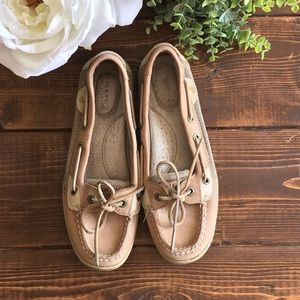 Sperry Top-Sider Leather Angelfish Tan Slip-ons, 7